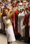 Pinkerton Academy Junior Class Marshal Samantha Potter of Chester directs the 690 graduating seniors to start receiving their diplomas. The event marked the 200th anniversary of the school's existence.