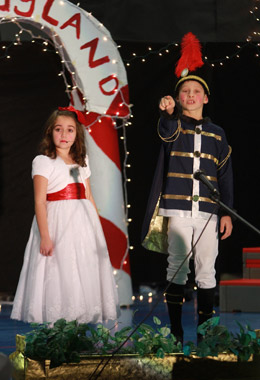 "Hampstead Central School fourth graders took the stage last week to bring to life the holiday classic ""The Nutcracker."" Portraying Maria is Isabella Charlebois, with Ethan Johnston as the Nutcracker. Photo by Chris Paul"