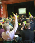 Sandown voters move an article to the warrant at last Saturday's Town Deliberative Session. A total of 75 registered voters attended. Photo by Chris Paul