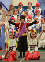 Fourth graders at Hampstead Central School presented the annual Multicultural Musical. Caroline Danner, Anthony Samoisette, Emma Adrien take part in a Russian dance. Photo by Chris Paul