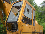 Logging equipment on Ledge Road in Chester was vandalized.