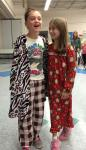 Friends Chayse Poulin and Leann Levenson, along with the rest of Sandown North School, wore their pajamas to school on Monday as a reward for doing a great job of collecting food for the Sandown Food Pantry before Thanksgiving. Photo by Matt Rittenhouse.